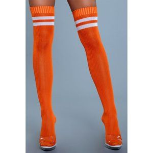 Athletic Striped Top Thigh High Stockings Orange